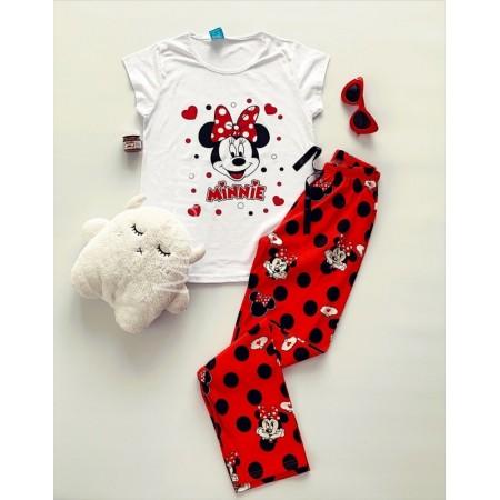 Pijama dama din bumbac cu pantaloni lungi rosii si tricou alb cu imprimeu MM si buline negre