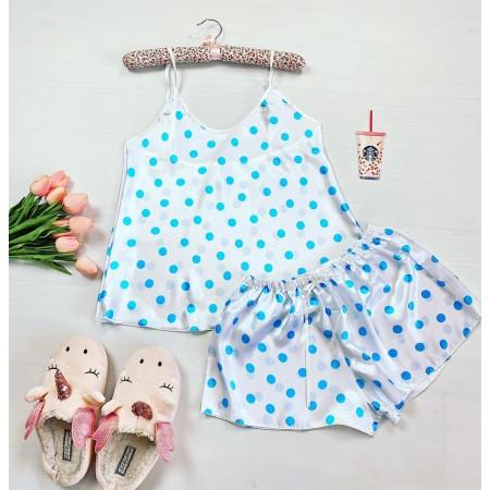 Pijama dama ieftina primavara-vara alb din satin lucios cu imprimeu buline albastre