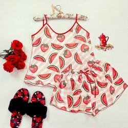 Pijama dama ieftina primavara-vara roz din satin lucios cu imprimeu pepene