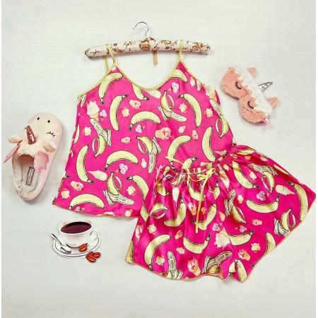 Pijama dama ieftina primavara-vara roz din satin lucios cu imprimeu banana
