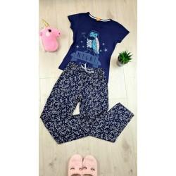 Pijama dama ieftina primavara-vara cu pantaloni lungi bleumarin si tricou bleumarin cu imprimeu Night Owl