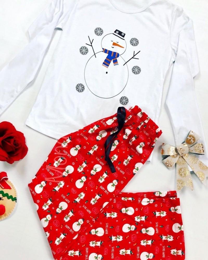 Pijama dama ieftina bumbac lunga cu pantaloni lungi rosii si bluza cu maneca lunga alba cu imprimeu Om de zapada