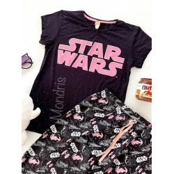 Pijama dama ieftina bumbac lunga cu tricou negru si pantaloni lungi negri cu imprimeu Star Wars