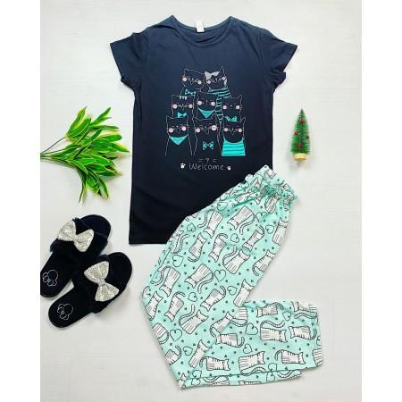 Pijama dama bumbac primavara-vara cu pantaloni lungi albastri si tricou negru cu imprimeu Cor de pisici
