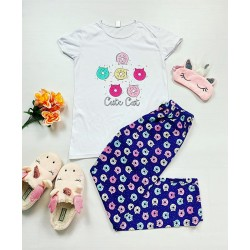 Pijama dama bumbac primavara-vara cu pantaloni lungi bleumarin si tricou alb cu imprimeu Cute Cat