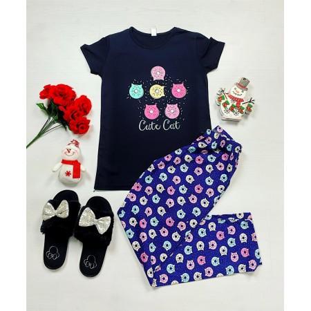 Pijama dama bumbac primavara-vara cu pantaloni lungi bleumarin si tricou negru cu imprimeu Cute Cat