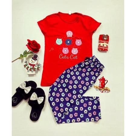 Pijama dama bumbac primavara-vara cu pantaloni lungi bleumarin si tricou rosu cu imprimeu Cute Cat