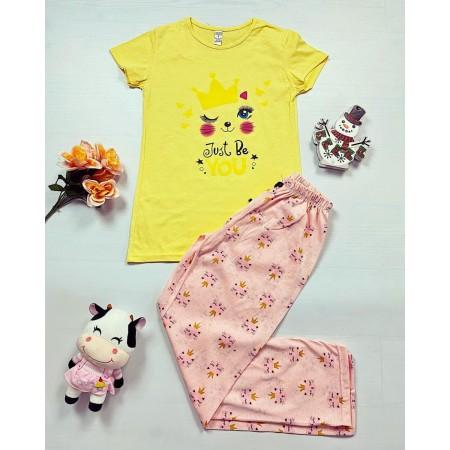Pijama dama bumbac primavara-vara cu pantaloni lungi bleumarin si tricou galben cu imprimeu Queen Cat