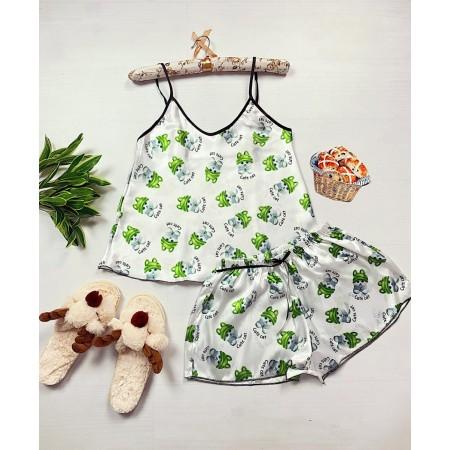 Pijama dama ieftina primavara-vara alba din satin lucios cu imprimeu verde Pisoi