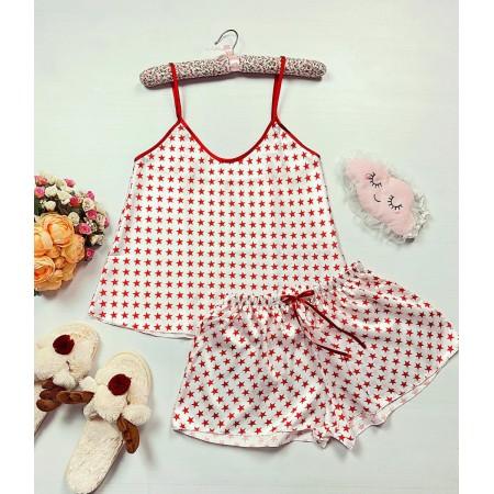 Pijama dama ieftina primavara-vara alba din satin lucios cu imprimeu stelute rosii