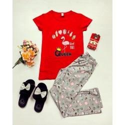 Pijama dama bumbac primavara-vara cu pantaloni lungi gri si tricou rosu cu imprimeu Queen Flamingo
