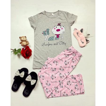 Pijama dama bumbac primavara-vara cu pantaloni lungi roz si tricou gri cu imprimeu Senfoni
