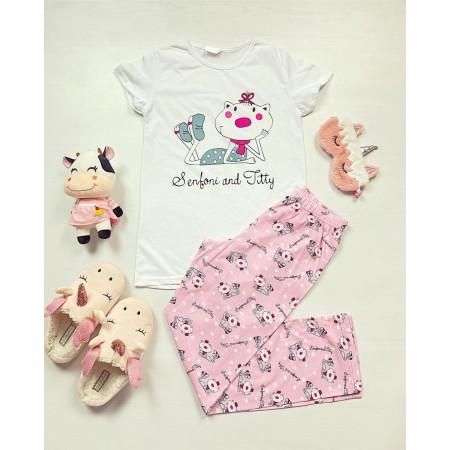 Pijama dama bumbac primavara-vara cu pantaloni lungi roz si tricou alb cu imprimeu Senfoni