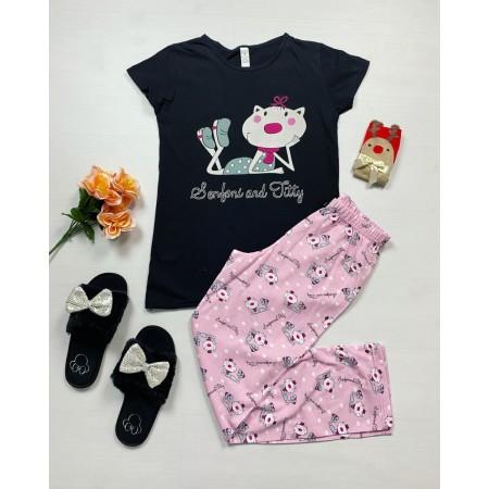 Pijama dama bumbac primavara-vara cu pantaloni lungi roz si tricou negru cu imprimeu Senfoni