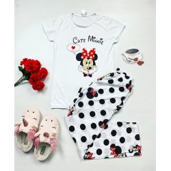 Pijama dama ieftina bumbac lunga cu pantaloni lungi albi si tricou alb cu imprimeu Cute MM