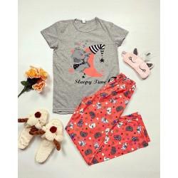 Pijama dama ieftina bumbac cu tricou gri si pantaloni lungi portocalii cu imprimeu Sleepy time