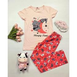 Pijama dama ieftina bumbac cu tricou corai si pantaloni lungi portocalii cu imprimeu Sleepy time
