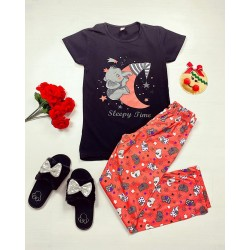 Pijama dama ieftina bumbac cu tricou negru si pantaloni lungi portocalii cu imprimeu Sleepy time