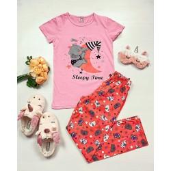 Pijama dama ieftina bumbac cu tricou roz si pantaloni lungi portocalii cu imprimeu Sleepy time
