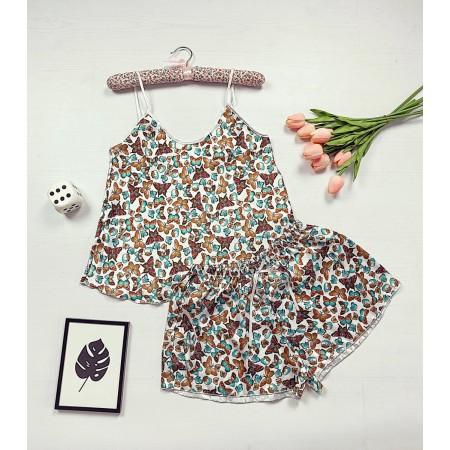 Pijama dama ieftina primavara-vara maro Lady cu imprimeu Fluturi
