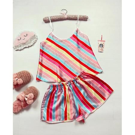 Pijama dama ieftina primavara-vara roz din satin lucios cu dungi diagonala colorate