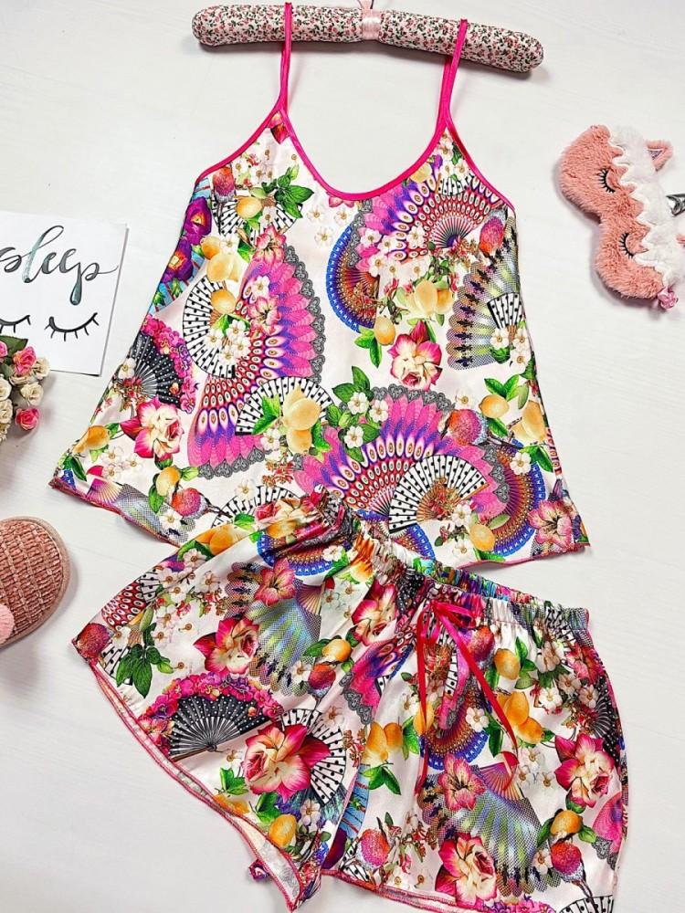 Pijama dama ieftina primavara-vara roz din satin lucios cu imprimeu Indian