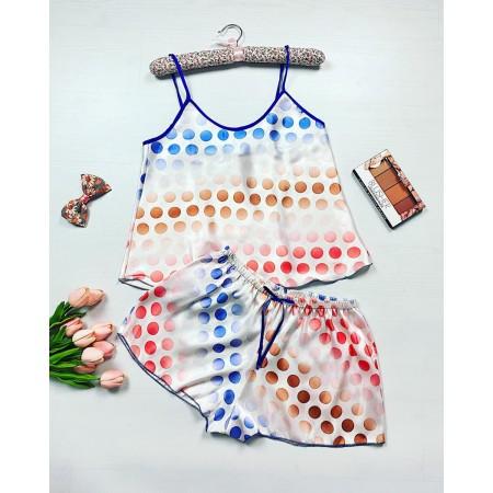 Pijama dama ieftina primavara-vara alba Lady cu imprimeu cercuri colorate