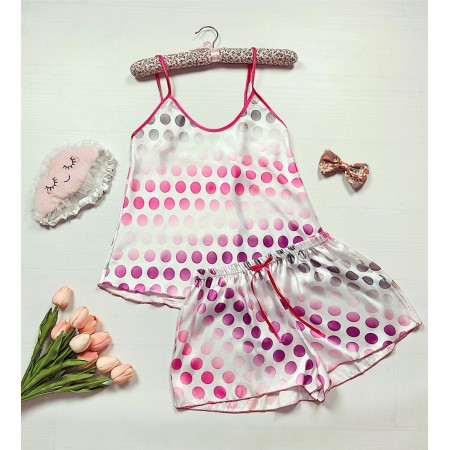 Pijama dama ieftina primavara-vara alba Lady cu imprimeu cercuri roz