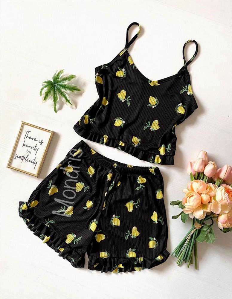 Pijama dama neagra ieftina scurta cu maieu cu volanase si imprimeu lemon