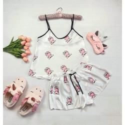 Pijama dama ieftina primavara-vara alba din satin lucios cu imprimeu Cow