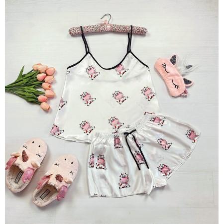 Pijama dama ieftina primavara-vara alba Lady cu imprimeu Cow