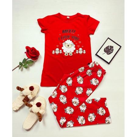 Pijama dama ieftina bumbac cu tricou rosu si pantaloni lungi rosii cu imprimeu Oite I Love You