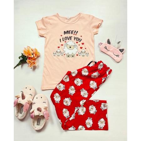 Pijama dama ieftina bumbac cu tricou roz si pantaloni lungi rosii cu imprimeu Oite I Love You