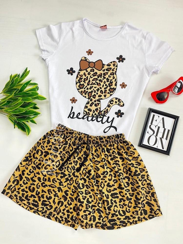 Pijama dama ieftina cu tricou alb si pantaloni scurti cu imprimeu HK animal print