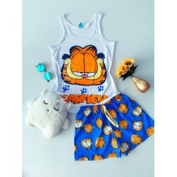 Pijama dama ieftina bumbac primavara vara cu maieu alb si pantaloni scurti albastri cu imprimeu Garfield