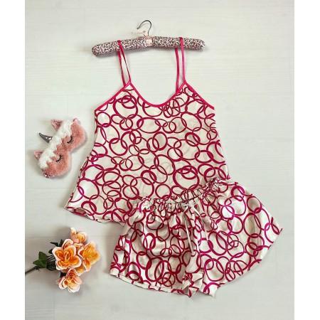Pijama dama ieftina primavara-vara alba Lady cu cercuri roz inchis