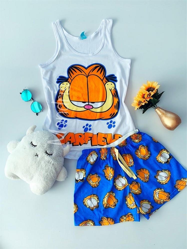 Pijama dama ieftina bumbac primavara vara cu maieu alb si pantaloni scurti albastri cu imprimeu GF