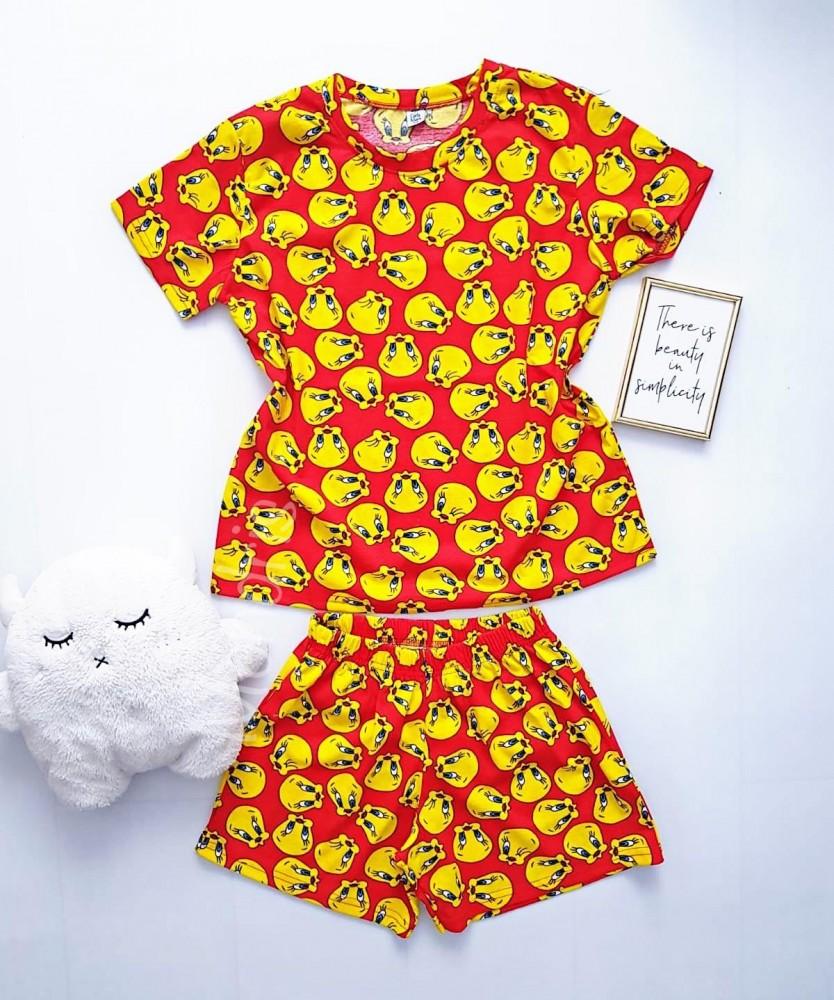 Pijama dama bumbac rosie scurta cu tricou cu imprimeu TW
