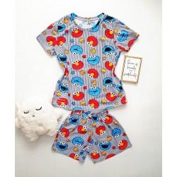 Pijama dama bumbac bleu scurta cu tricou cu imprimeu CM