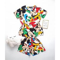 Pijama dama bumbac colorata scurta cu tricou cu imprimeu personaje