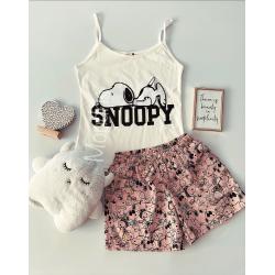 Pijama dama ieftina primavara-vara cu pantaloni scurti roz si maieu alb cu imprimeu Snoopy