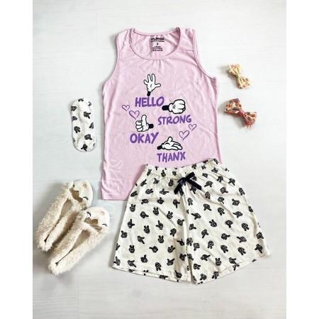 Pijama dama ieftina bumbac cu pantaloni scurti albi si maieu roz cu imprimeu Signs