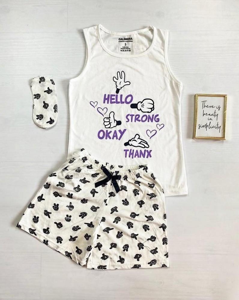 Pijama dama ieftina bumbac cu pantaloni scurti albi si maieu alb cu imprimeu Signs