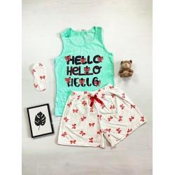 Pijama dama ieftina bumbac cu pantaloni scurti albi si maieu turcoaz cu imprimeu Hello