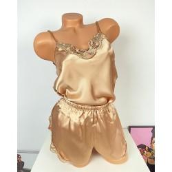 Pijama dama ieftina primavara-vara auriu din satin lucios cu model dantelat