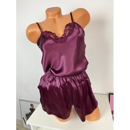 Pijama dama ieftina primavara-vara mov inchis Lady cu model dantelat