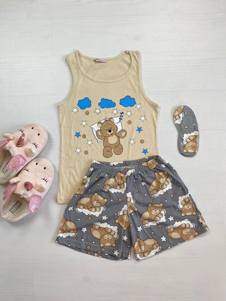 Pijama dama ieftina bumbac cu pantaloni scurti gri si maieu crem cu imprimeu Ursulet