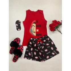 Pijama dama ieftina bumbac cu pantaloni scurti negri si maieu rosu cu imprimeu Papel