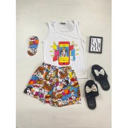 Pijama dama ieftina bumbac cu pantaloni scurti albi si maieu alb cu imprimeu Instagram