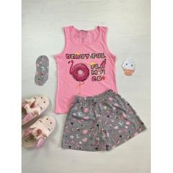 Pijama dama ieftina bumbac cu pantaloni scurti gri si maieu roz cu imprimeu Flamingo